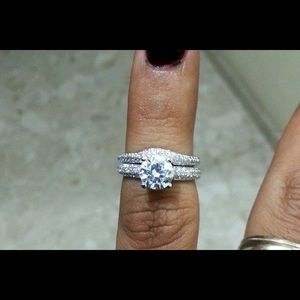Micro pave engagement ring and wedding band set